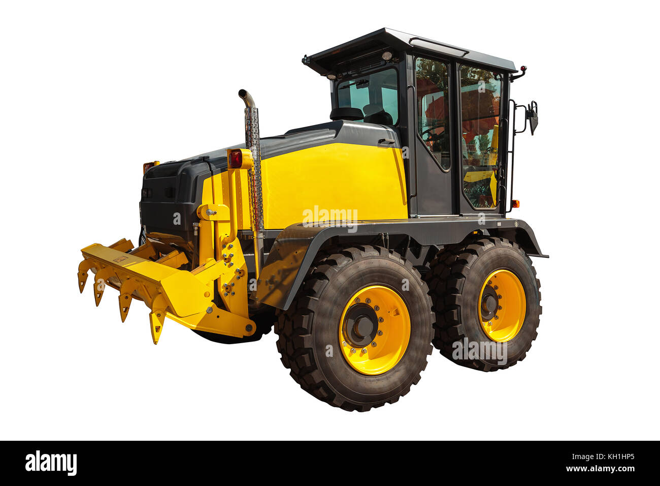 Grader and Excavator Construction Equipment with clipping path isolated on white background - Stock Image