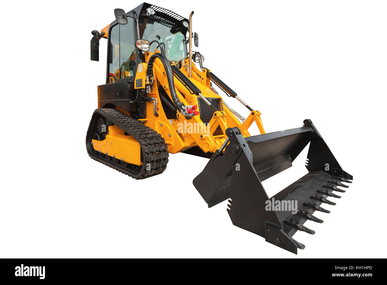 Backhoe loader or bulldozer - excavator with clipping path isolated on white background - Stock Image