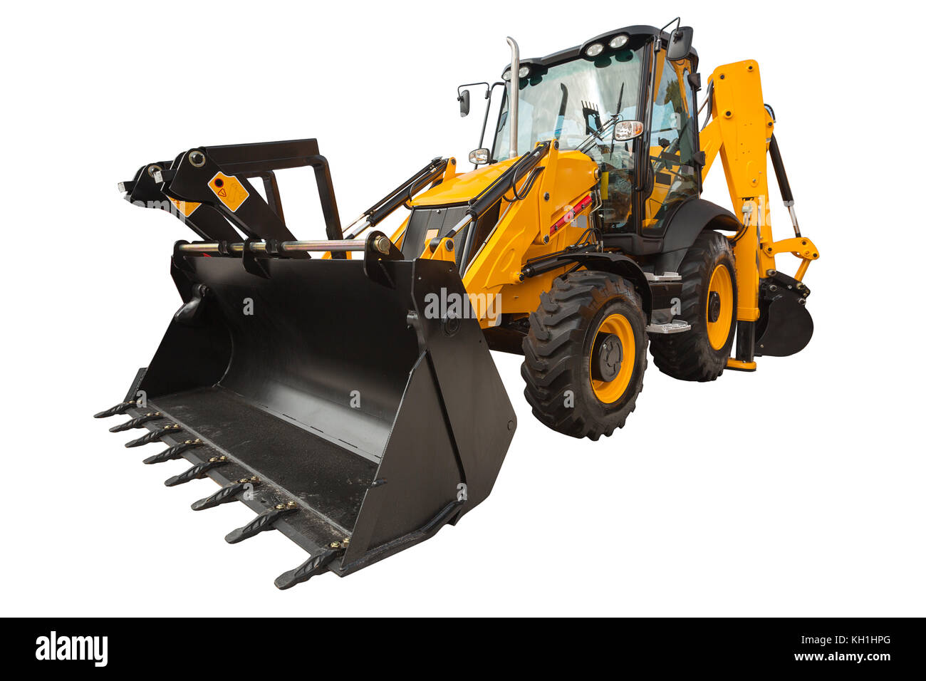 New modern excavator loader with clipping path isolated over white background - Stock Image