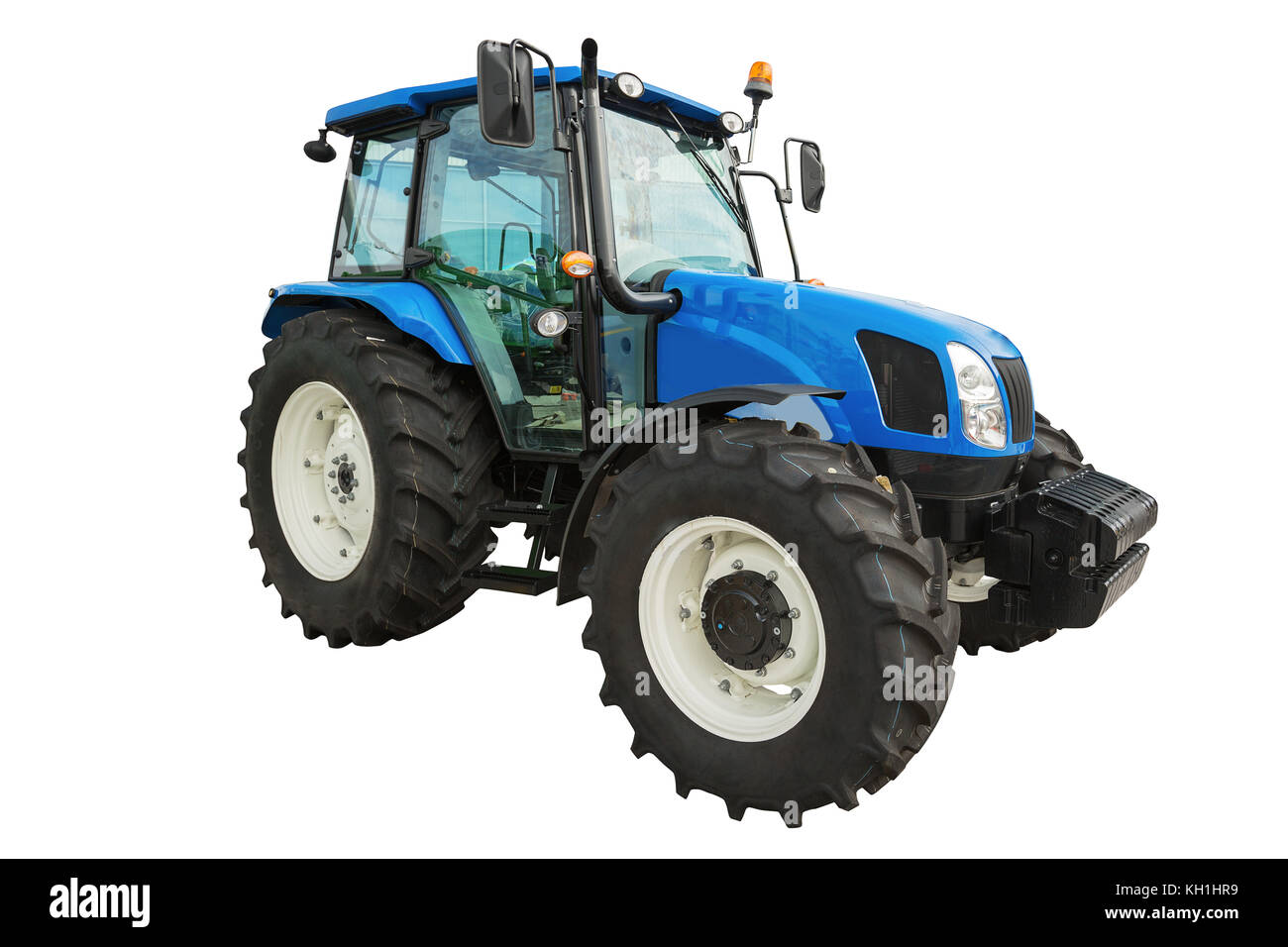 New modern agricultural tractor isolated on white background with clipping path - Stock Image