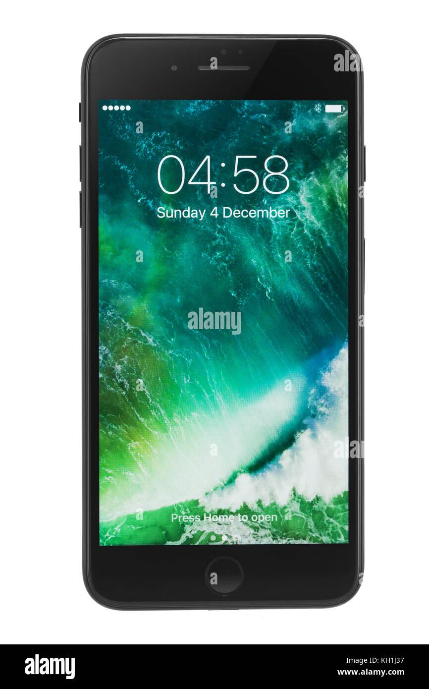 Varna, Bulgaria - December, 04, 2016: Studio shot of a black Iphone 7 plus, with Dual 12 MP Camera, quad-core 2,23 - Stock Image