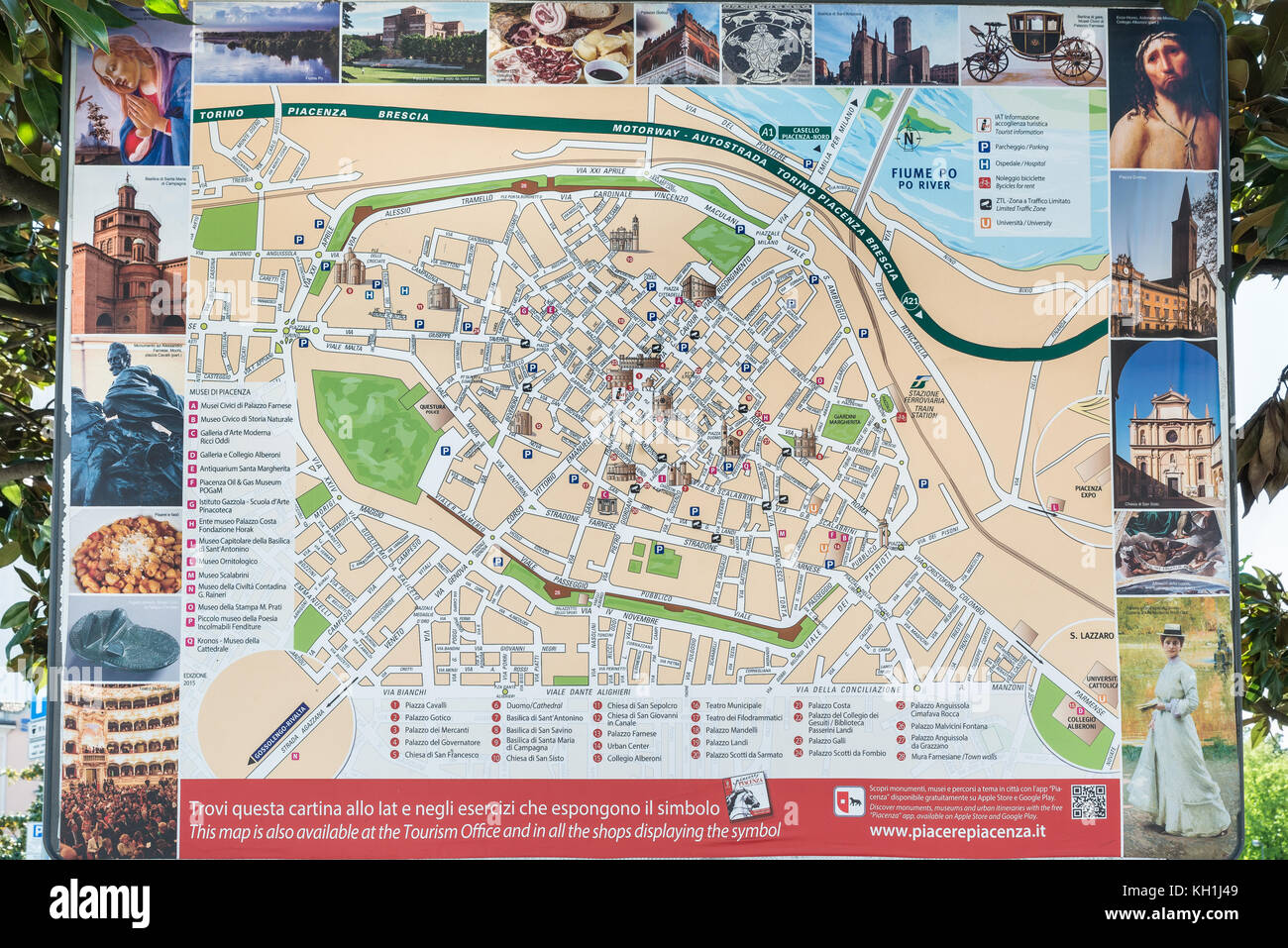 Piacenza Italy April 20 2017 Tourist Map Of The City Located