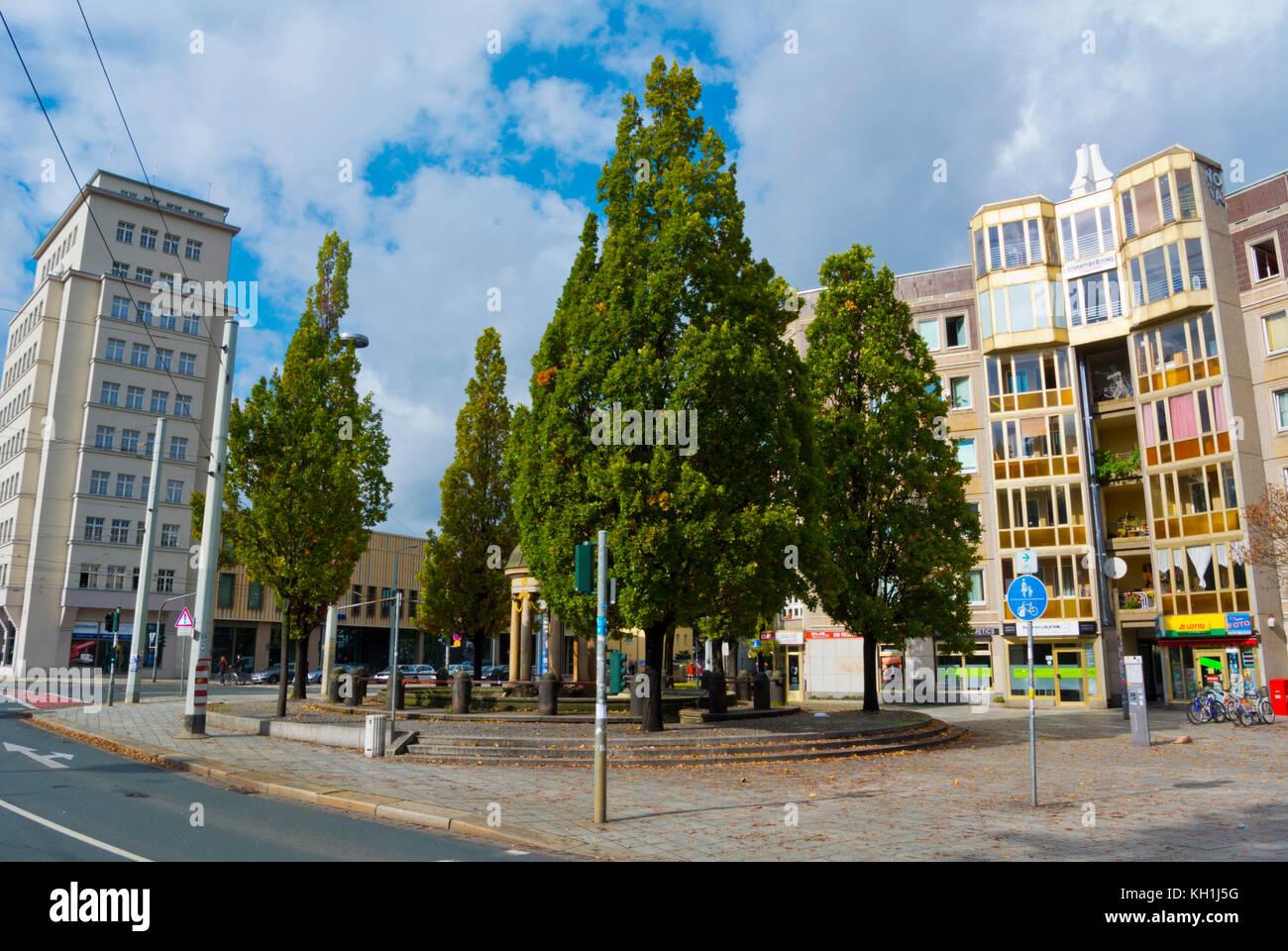 Bautzner Strasse, Albertplatz, Neustadt, Dresden, Saxony, Germany - Stock Image