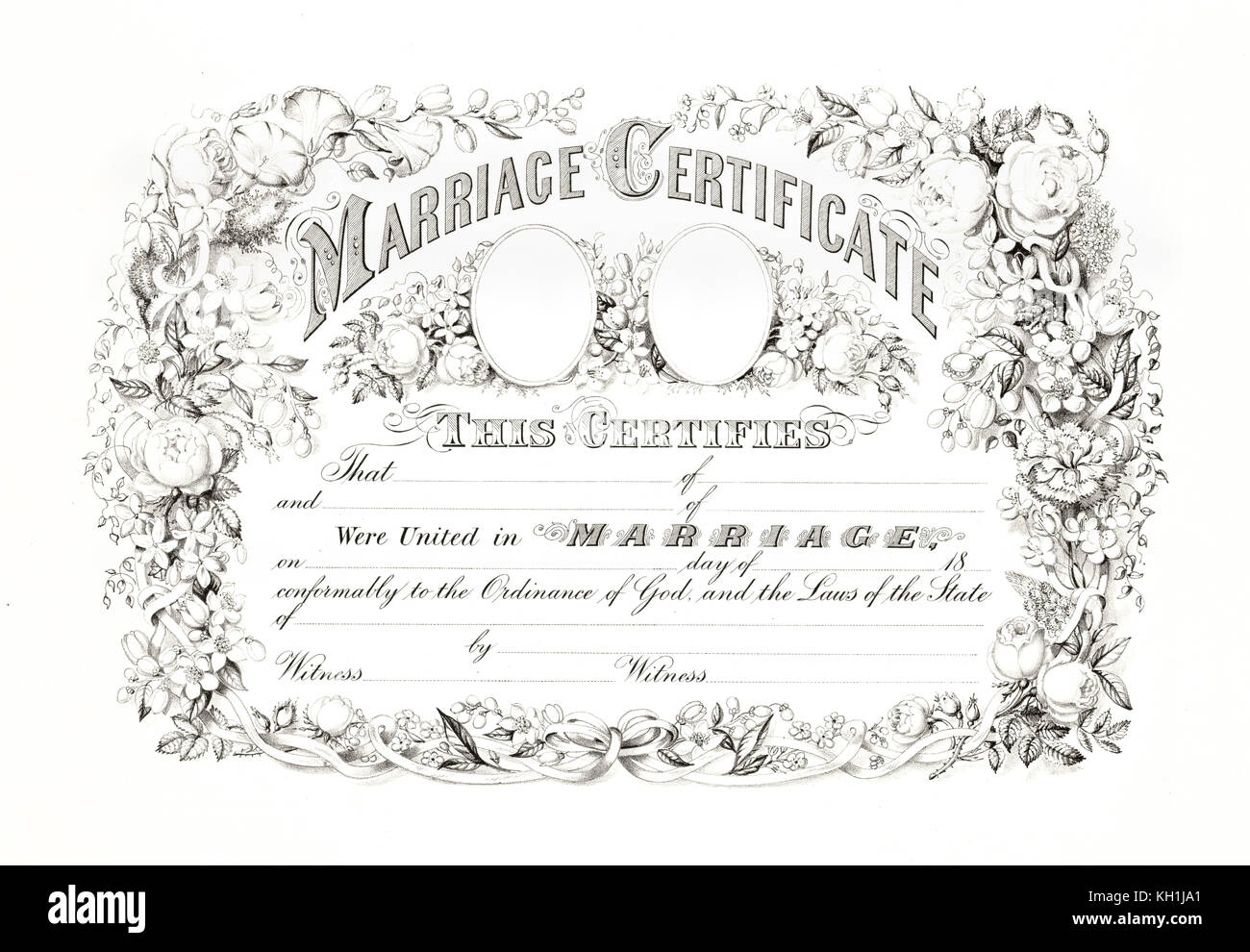 Reproduction of antique marriage certificate with floral border. By ...