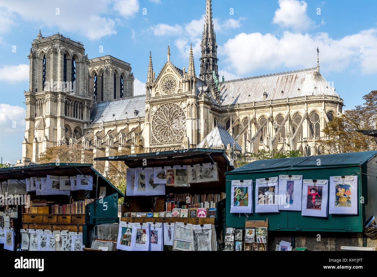 France. Paris (75), 4th Dist. Notre-Dame Cathedral and bookstores on the quays - Stock Image