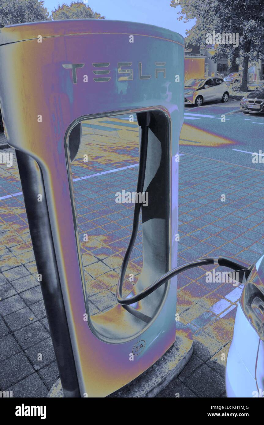 Tesla charge points, Achern, Germany. - Stock Image