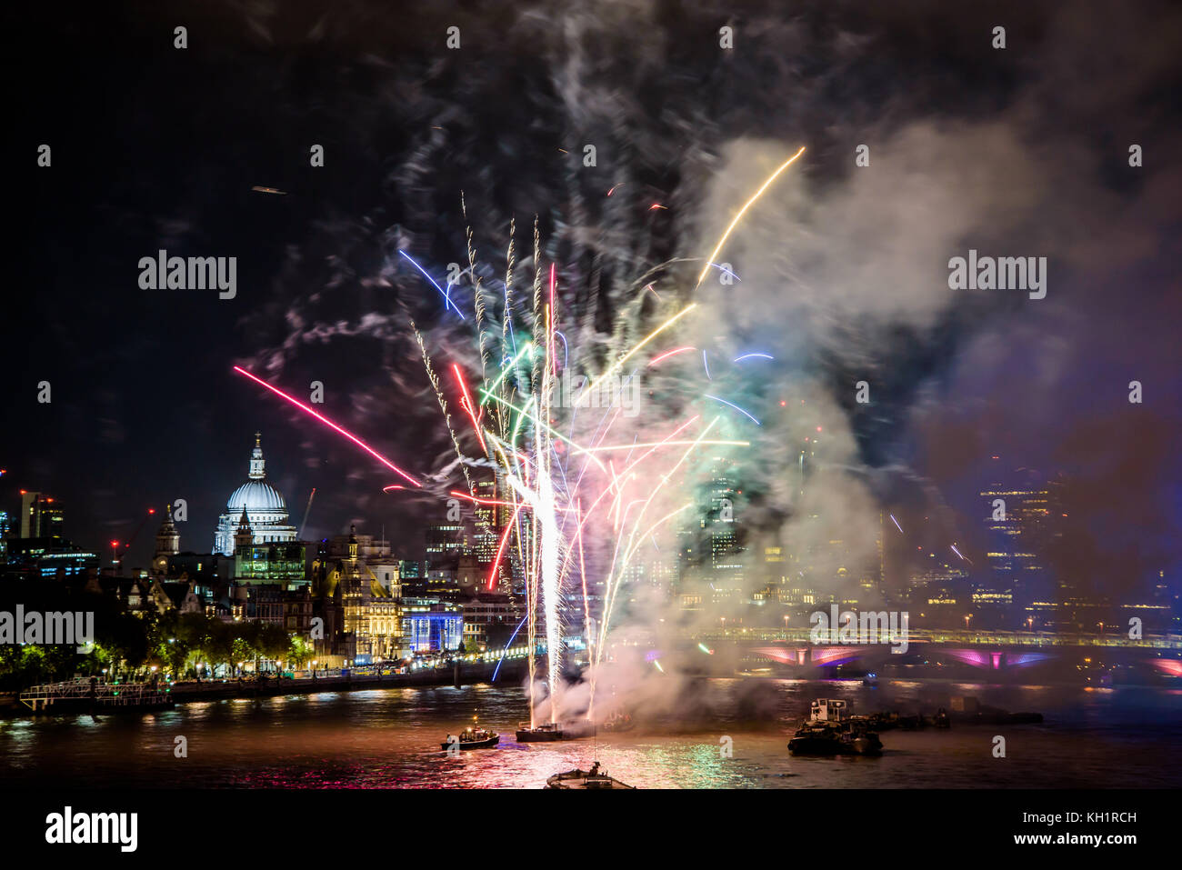 A spectacular fireworks display closes the annual celebrations for Lord Mayor's Show in London, England - Stock Image