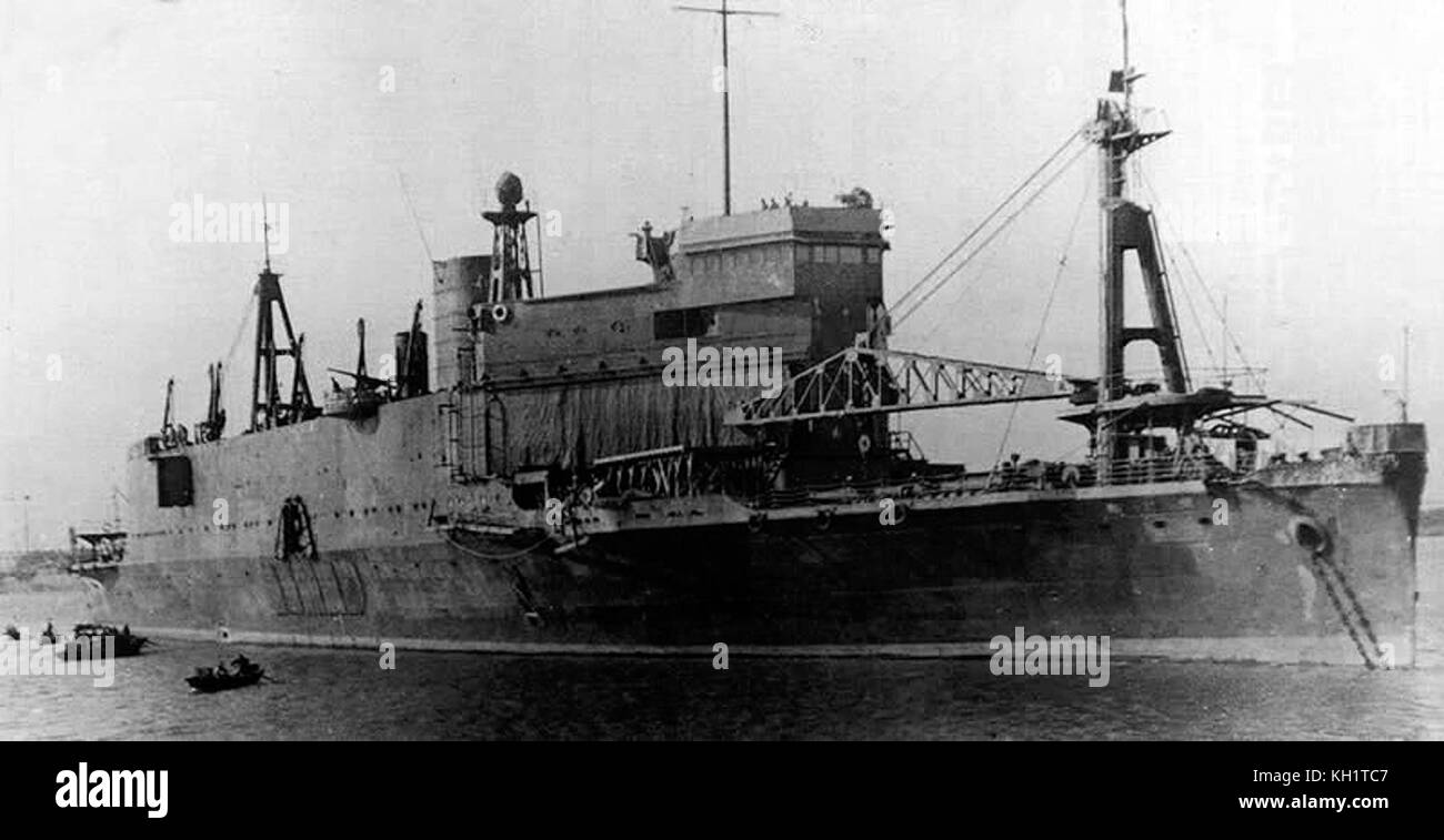 Imperial Japanese Army's landing craft carrier 'Shinshū Maru', the worldwide first of its kind (1937). - Stock Image
