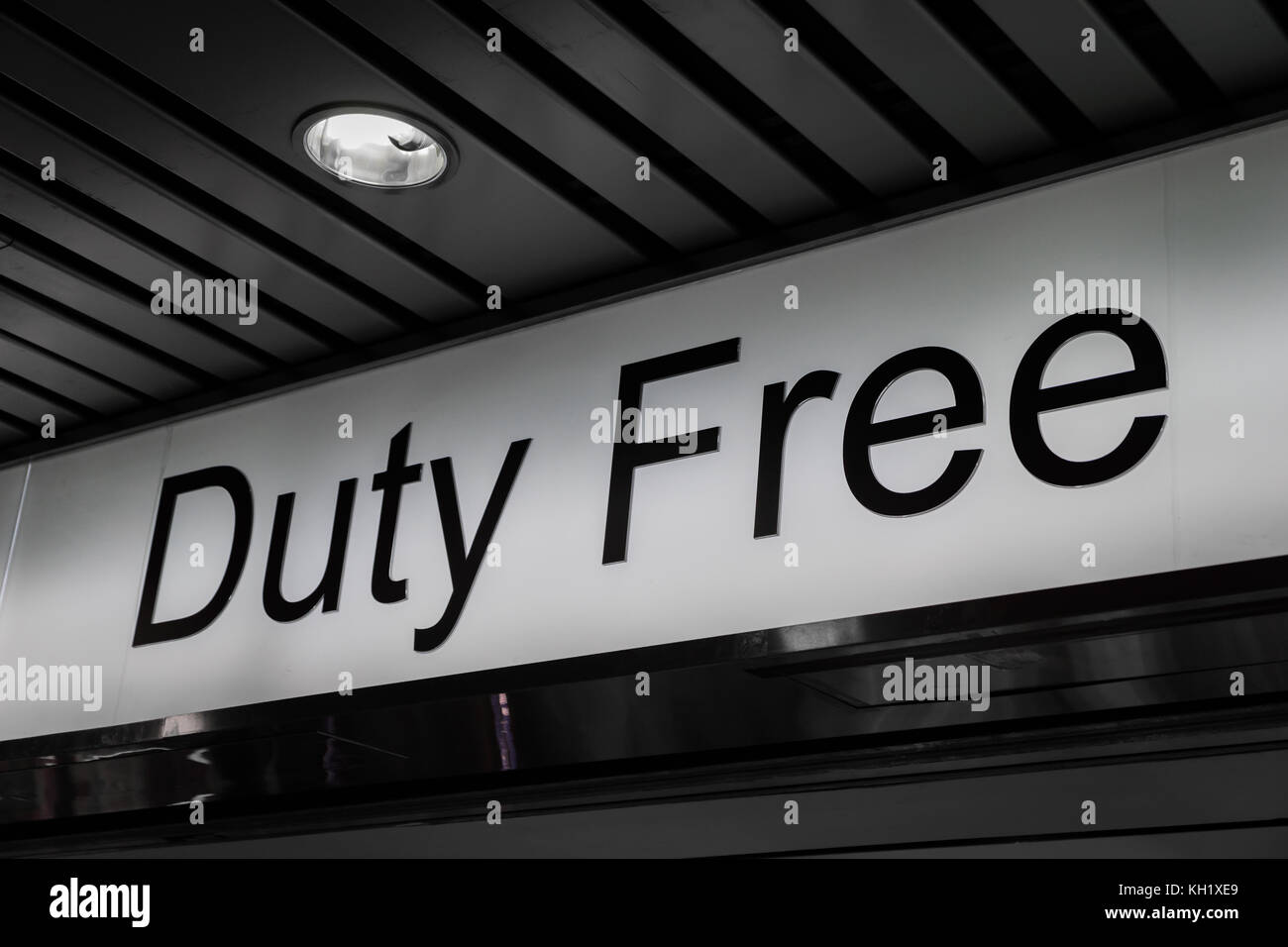 duty free shop sign inside of an international airport stock photo