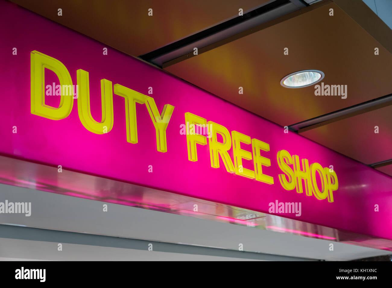 duty free shop sign inside of an international airport - Stock Image