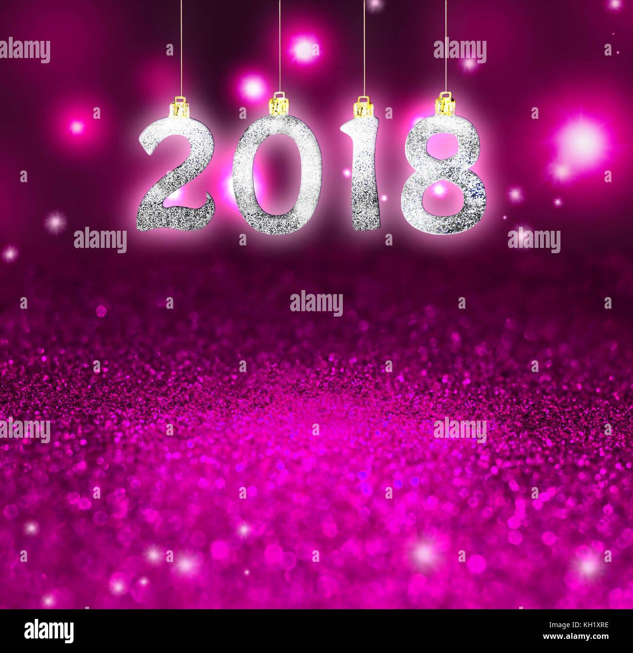 Set of silver shiny digits on glitter background. New year 2018 background. Christmas. - Stock Image