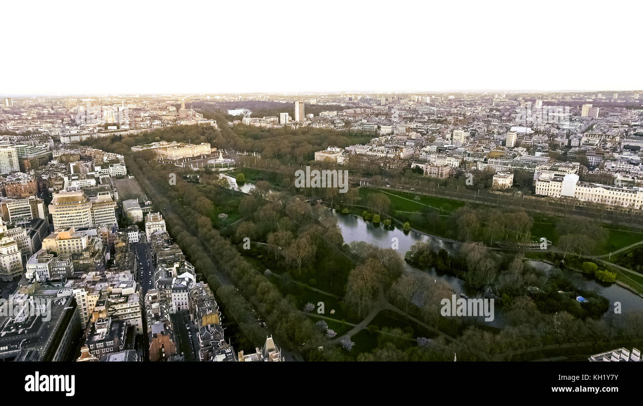 Aerial View of Buckingham Palace and St James Park in City of London, England UK - Stock Image