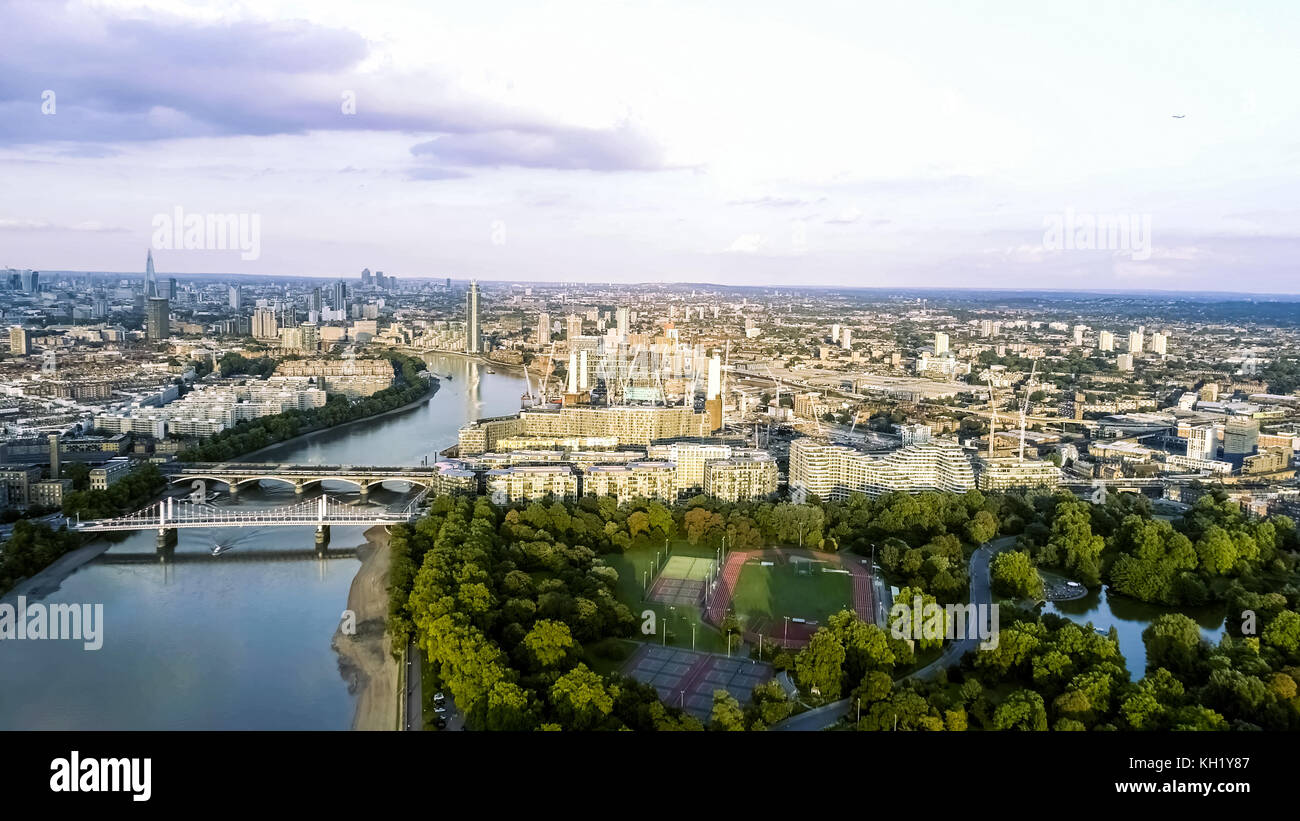 Aerial View of Battersea Power Station and Battersea Park feat. Running Tracks and Fields, Chelsea Bridge, Thames - Stock Image