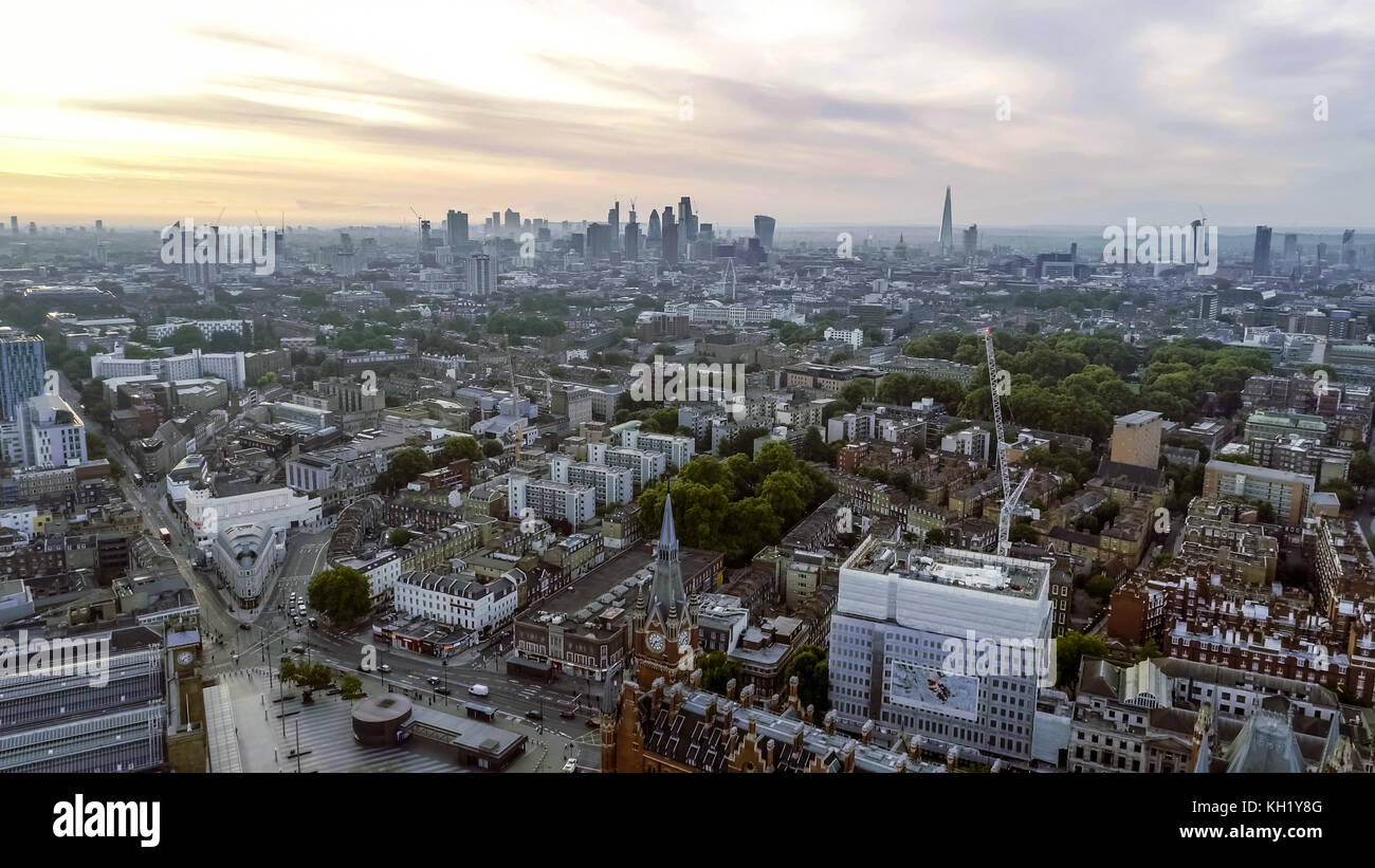 Aerial View London Sunrise Cityscape Iconic Landmarks and King's Cross St Pancras International Station - Stock Image