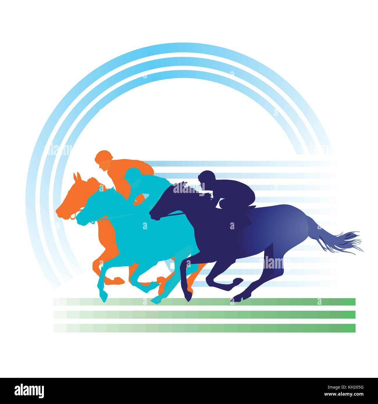 Horse Racing on the race track, equestrian sign - Stock Vector
