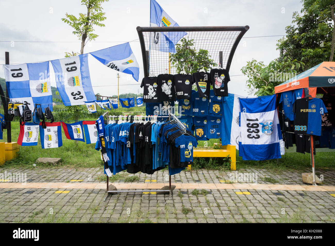 Bandung, Indonesia - October 2017: Fan items at Jalak Harupat Soreang Stadium, the stadium used by the local professional - Stock Image
