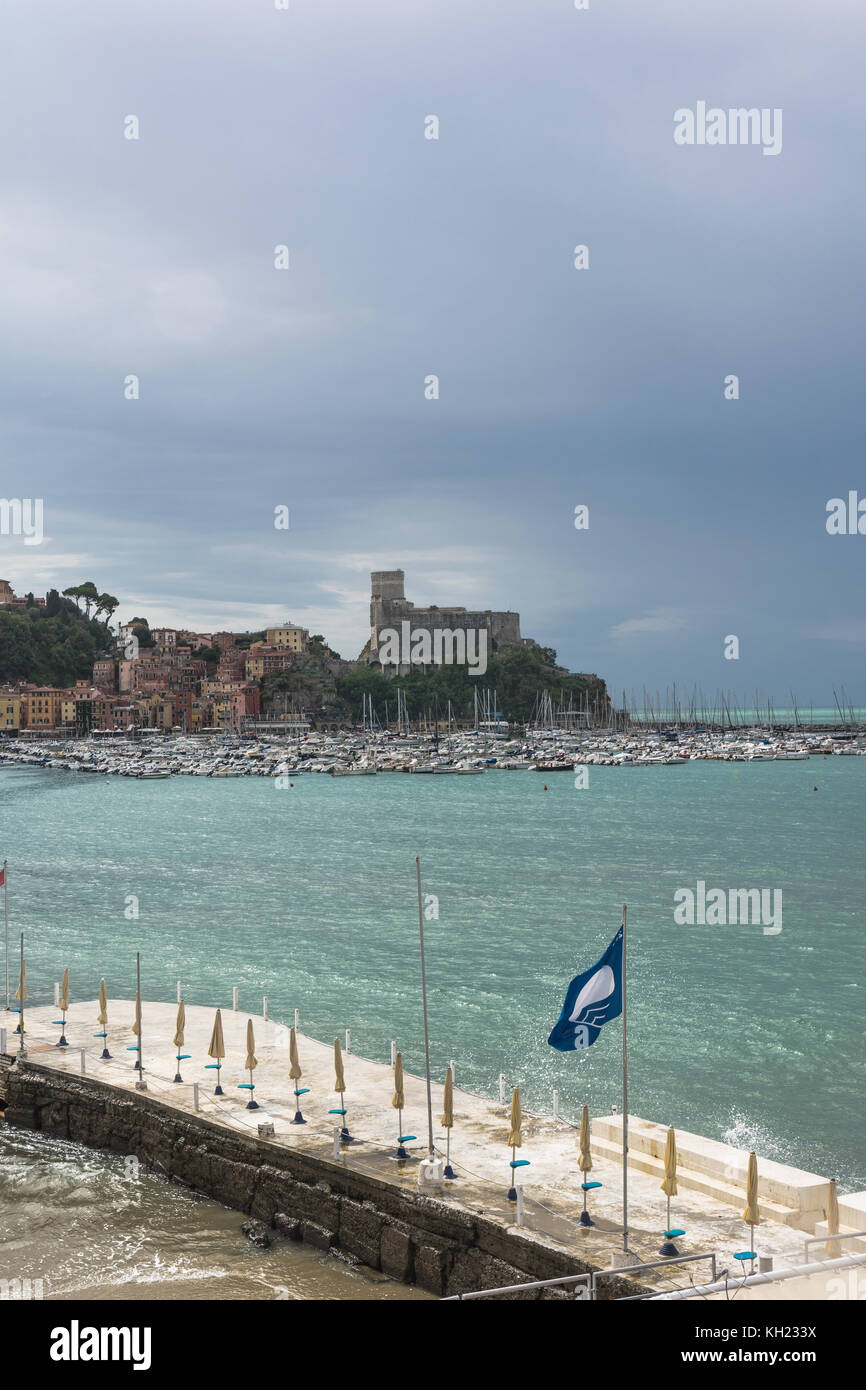 View of the Gulf of the Poets from Lerici, Liguria, Italy - Stock Image