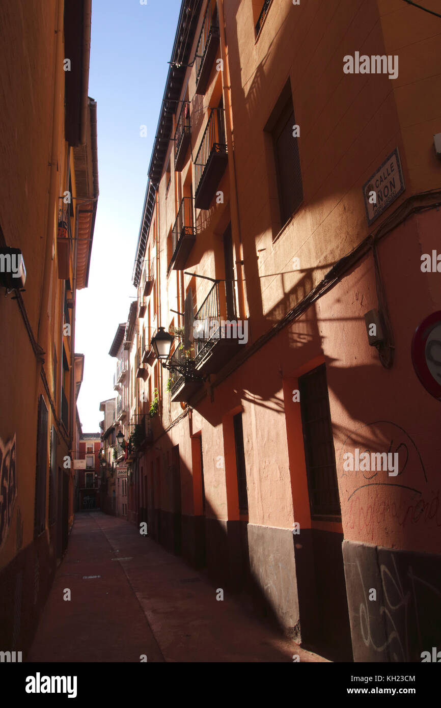 Calle Anon alley in old city centre Zaragoza Spain - Stock Image