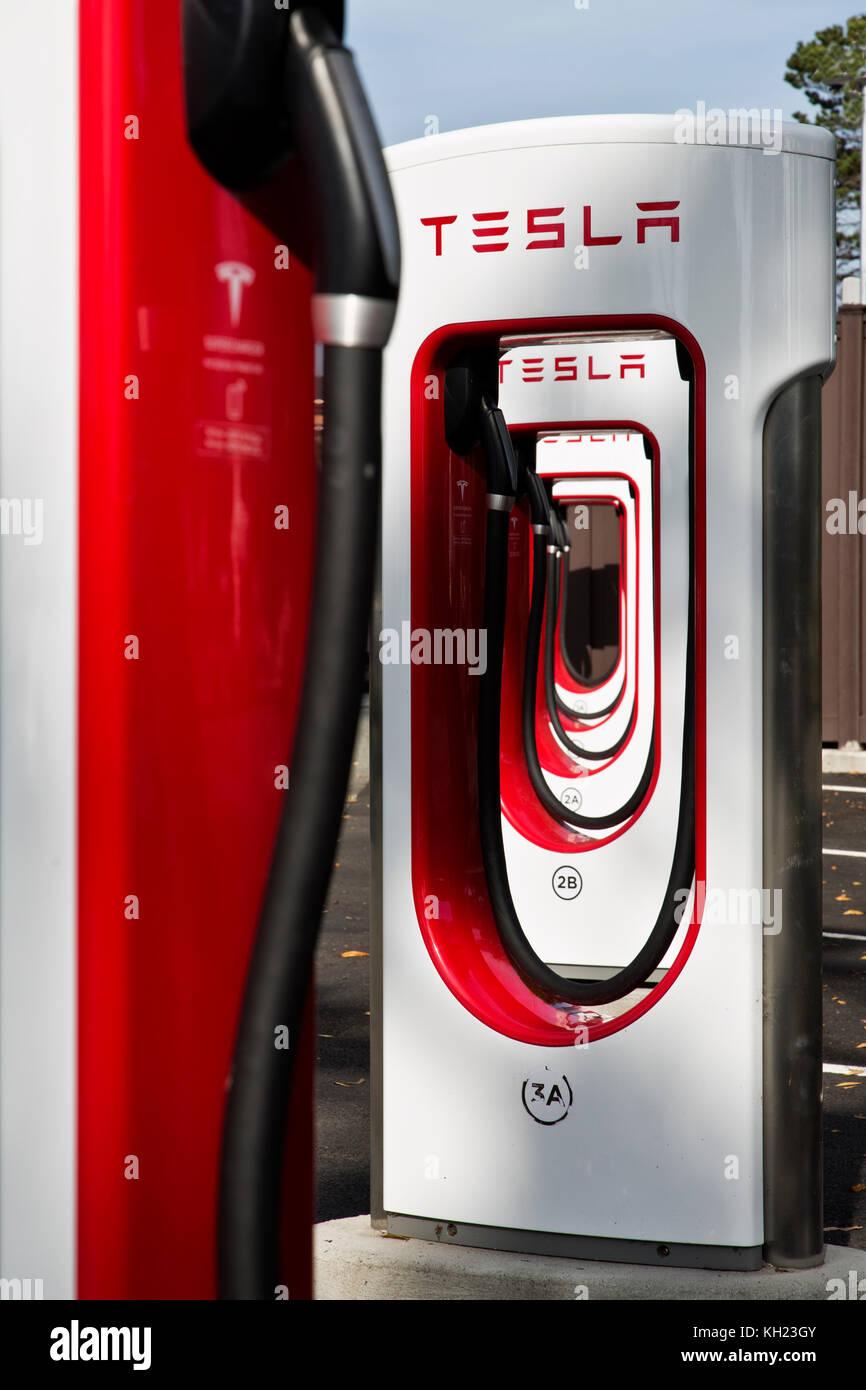 Tesla  Supercharger Stations,  480 volt fast charging. - Stock Image