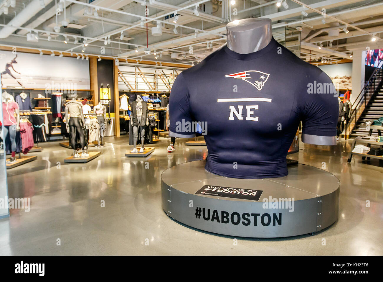The floor of an Under Armour store inside Prudential Center in Boston. - Stock Image