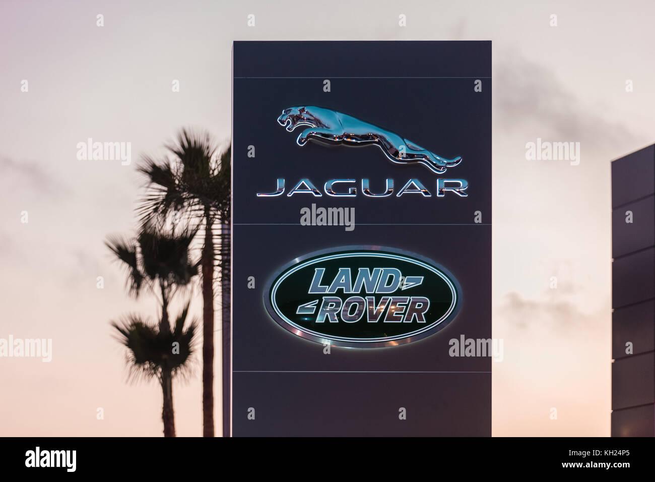 Jaguar and land Rover dealership sign, Rabat , Morocco - Stock Image