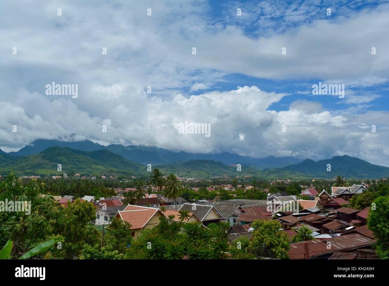 View of the hills around Luang Prabang - Stock Image