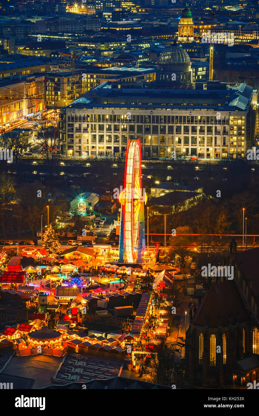 Aerial view on christmas market in Berlin at night - Stock Image