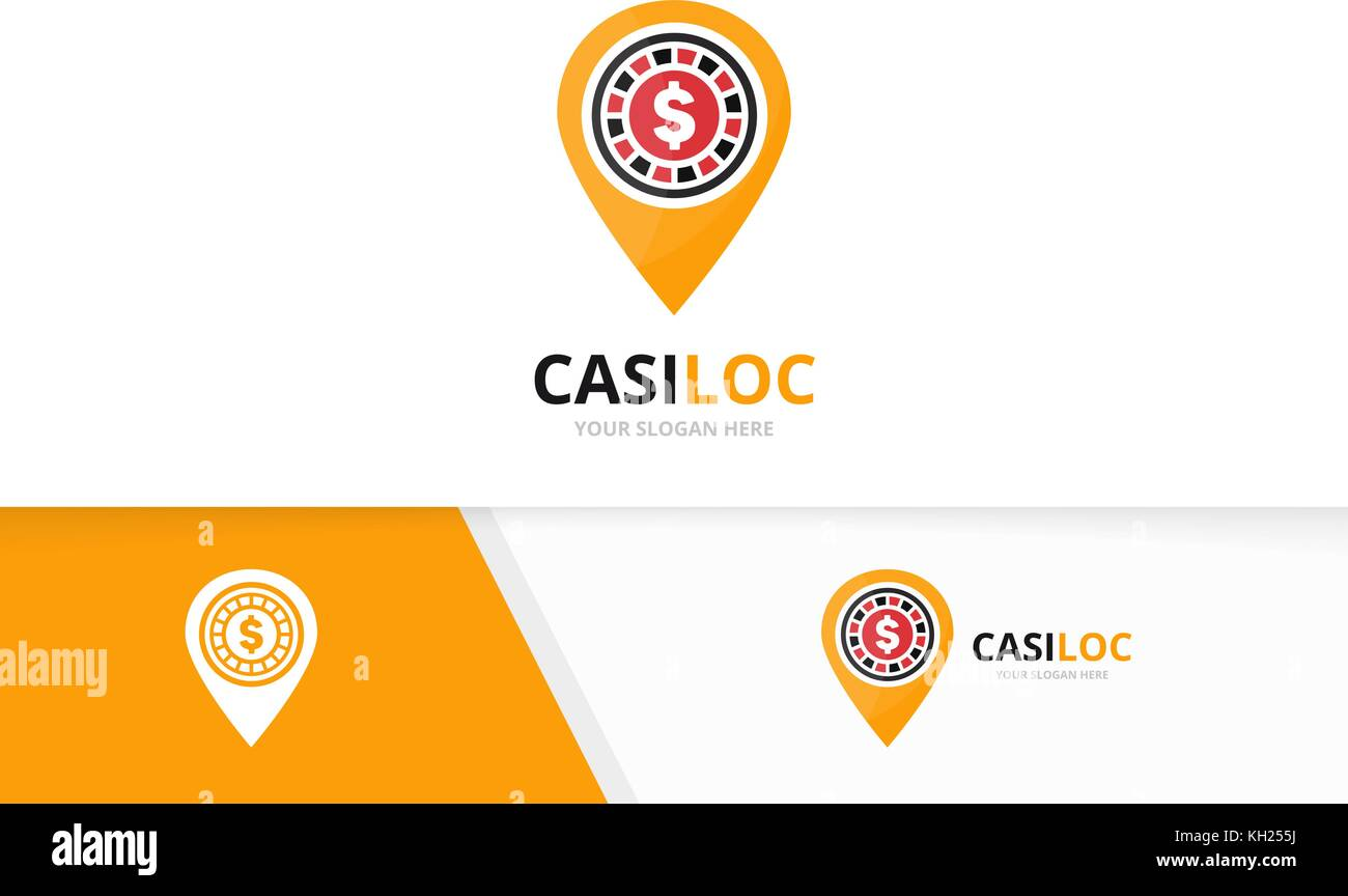 Vector casino and map pointer logo combination. Chip and gps locator symbol or icon. Unique roulette game and pin - Stock Vector