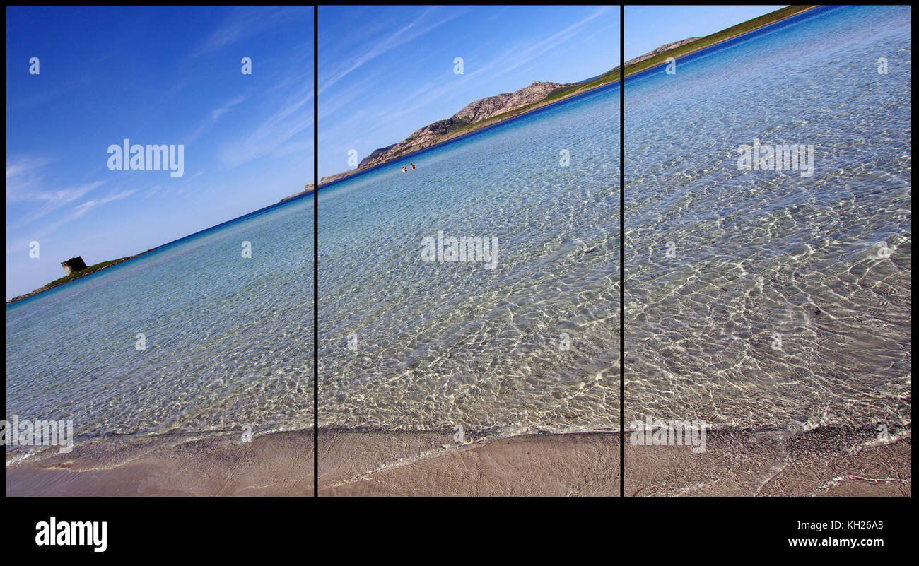 Stintino, Sardinia, La Pelosa beach.(Triptych: picture molded into 3 fields for  printing decorative panels) - Stock Image