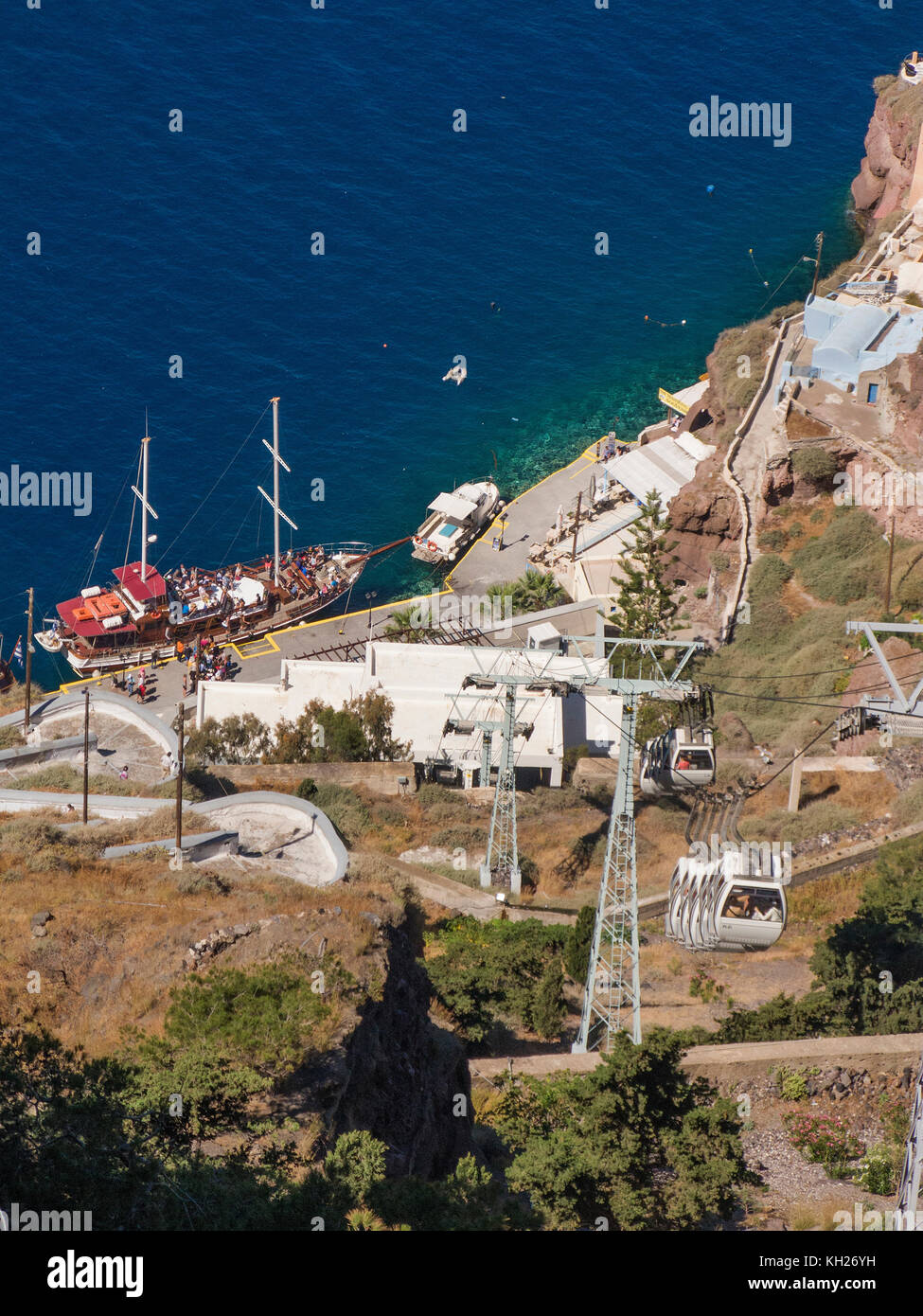 Cable car from Thira to the old harbour, Santorini, Cyclades, Aegean, Greece - Stock Image