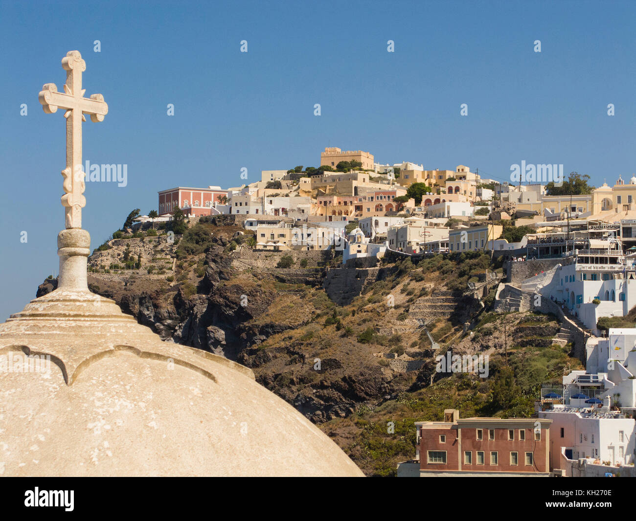 Orthodox church at the crater edge, Thira, Santorin island, Cyclades, Aegean, Greece - Stock Image