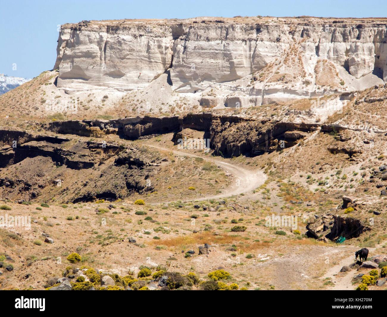 Pumice stone, rock at Akrotiri, Santorin island, Cyclades, Aegean, Greece - Stock Image