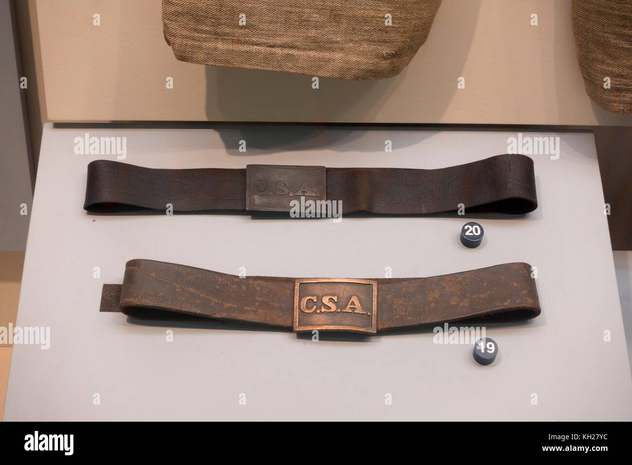 A pair of Confederate belts and buckles, National Civil War Museum, Lincoln Circle, Harrisburg, PA, United States - Stock Image