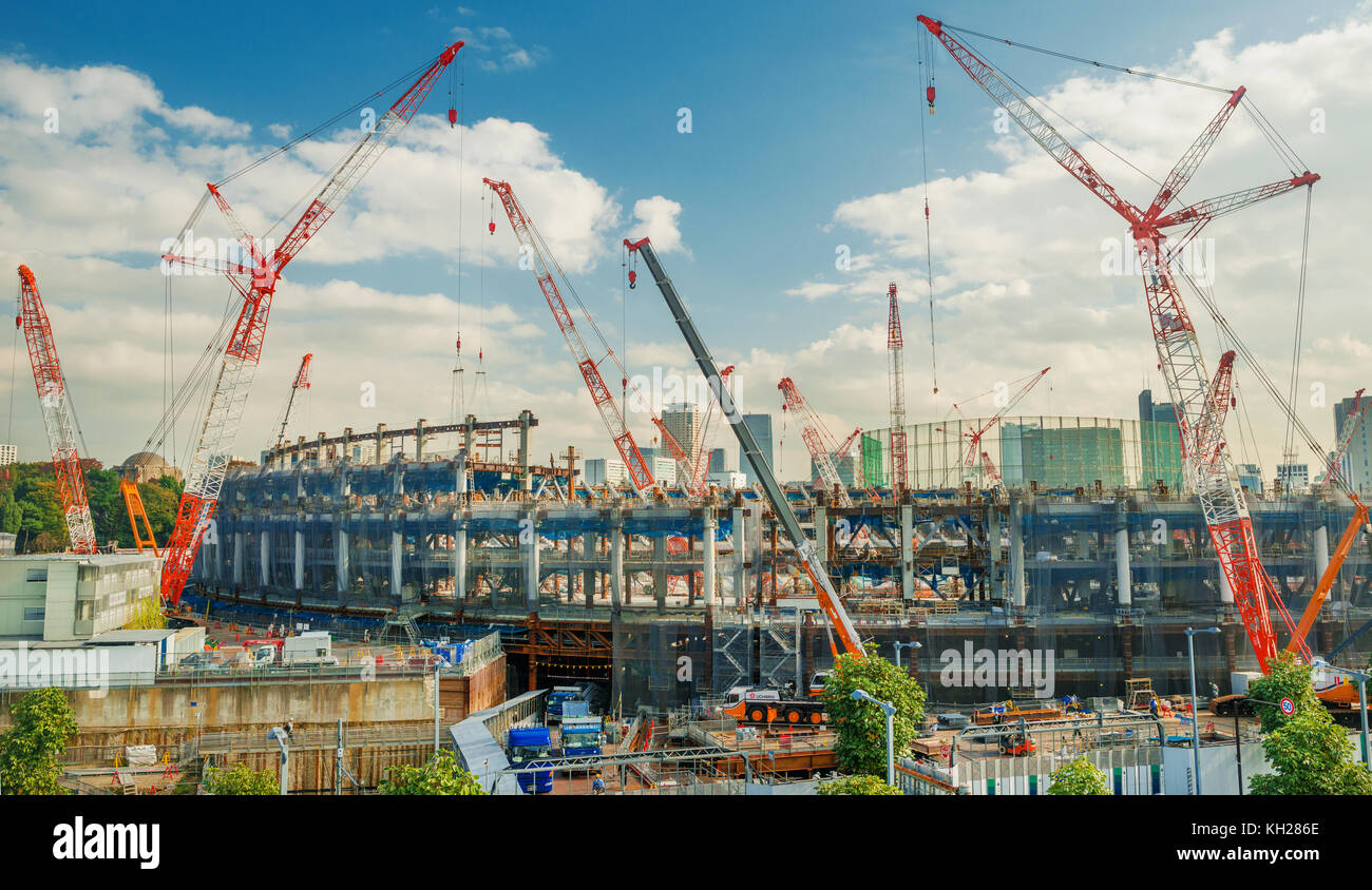 New Tokyo National Stadium under construction in Shinjuku District for 2020 Summer Olympic Games Stock Photo