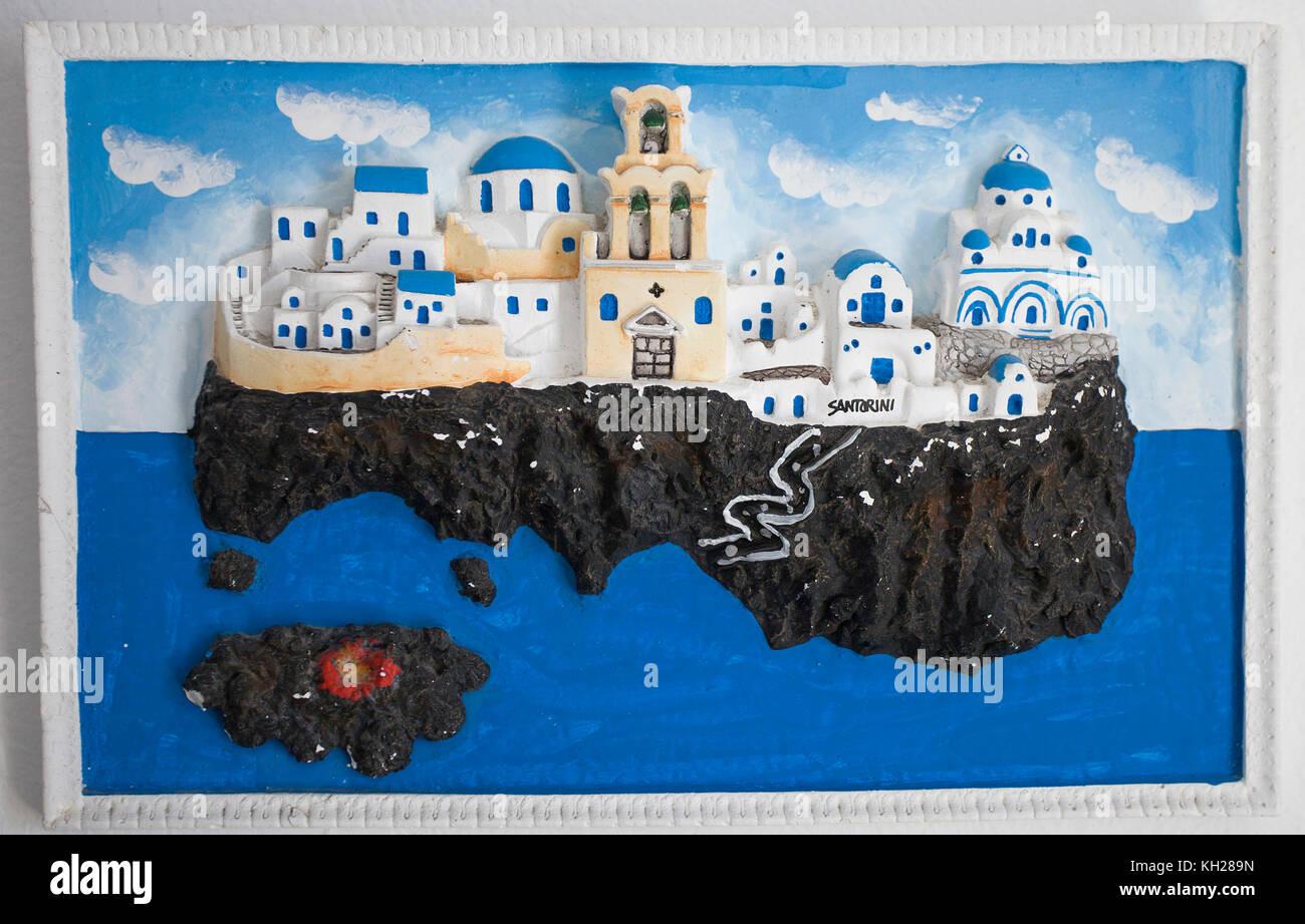 Painting of Santorin at a souvenir shop, Thira, Santorin island, Cyclades, Aegean, Greece, - Stock Image
