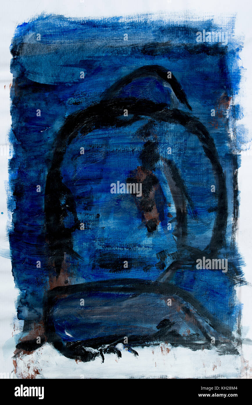 Abstract Painting Of A Figure Sitting In Dark Blue And Black