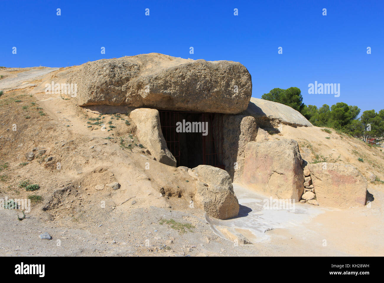 Entrance to the Dolmen of Menga (Dolmen de Menga), dating from the 3rd millennium BCE in Antequera, Spain - Stock Image