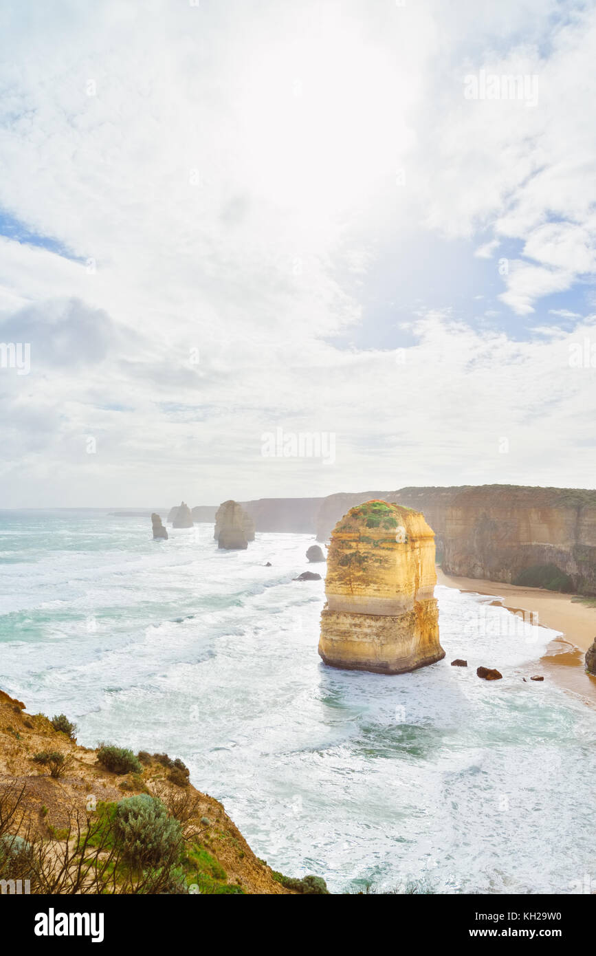 Australia Victoria. A View of the Twelve Apostles at the end of winter and beginning of spring. Weather was windy Stock Photo