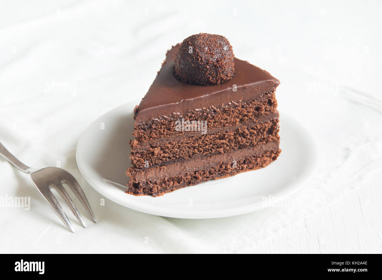 Piece of Chocolate Cake on plate and white background. Homemade chocolate cake. & Piece of Chocolate Cake on plate and white background. Homemade ...