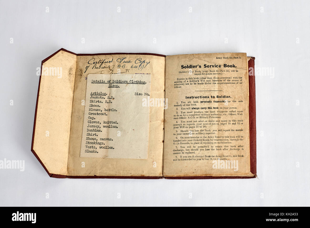 World war 2 British soldiers service book - Stock Image