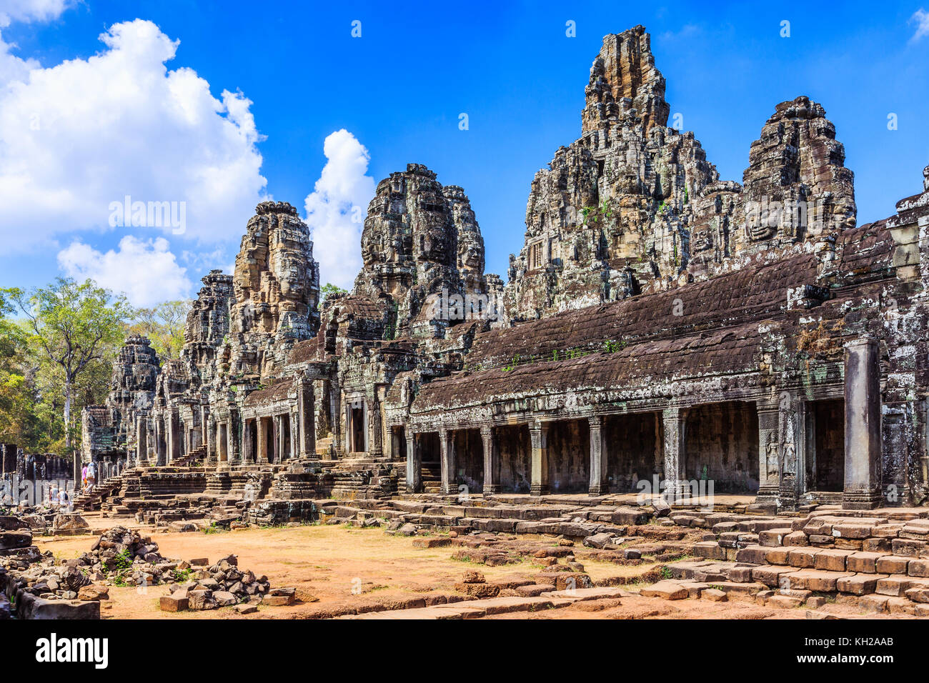 Angkor, Cambodia. The inner gallery of the Bayon temple. - Stock Image