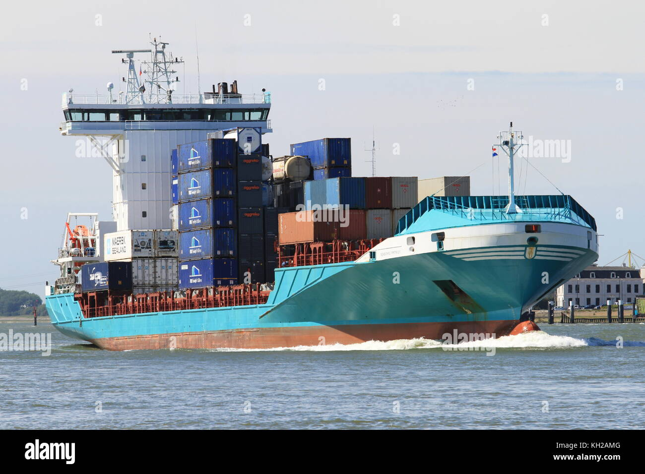 The container ship Seaboard Patriot will arrive at the port of Rotterdam on 24 May 2015. - Stock Image