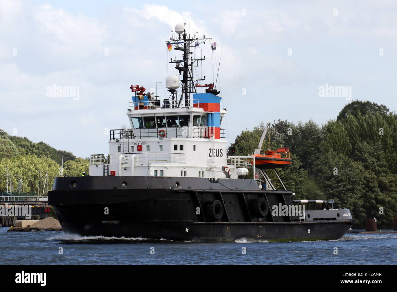 The offshore hauler Zeus enters Kiel Canal on August 8, 2016 at Kiel Holtenau. - Stock Image