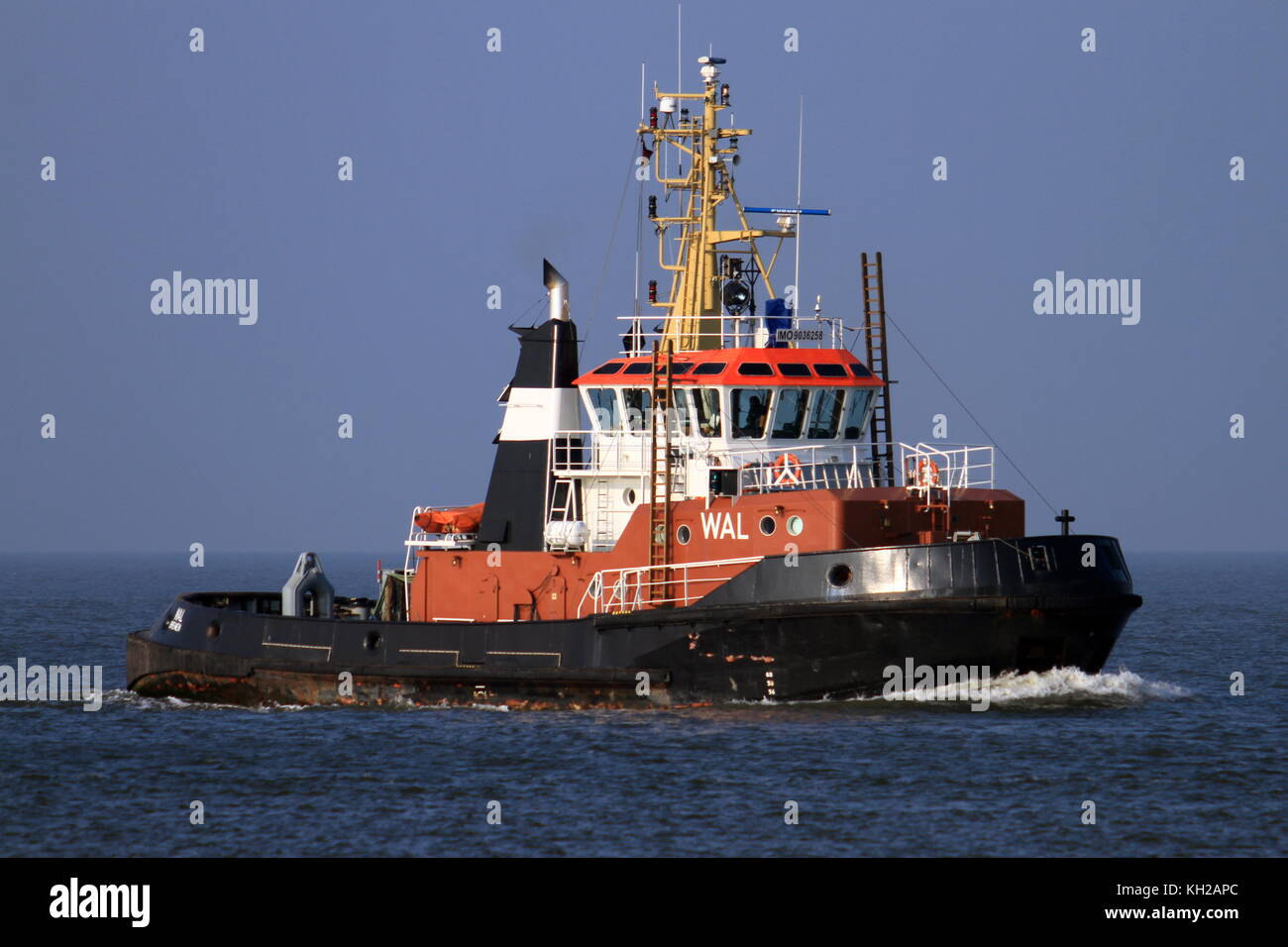 The tug boat Wal passes on October 4, 2015 Cuxhaven on the Elbe river. - Stock Image