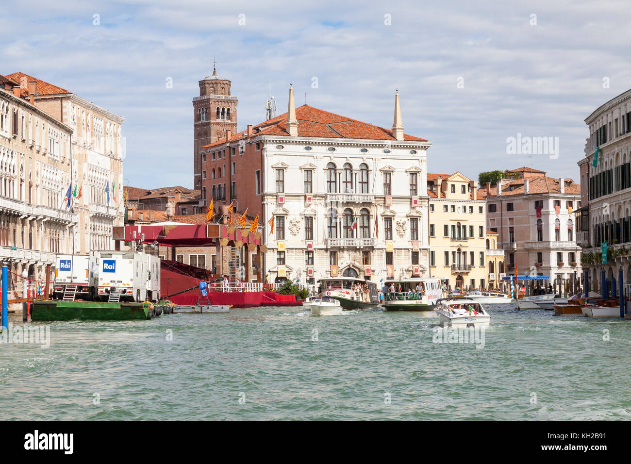 Grand Canal in front of Ca Foscari during preparations for Regata Storica, Venice, Italy with the Rai television - Stock Image