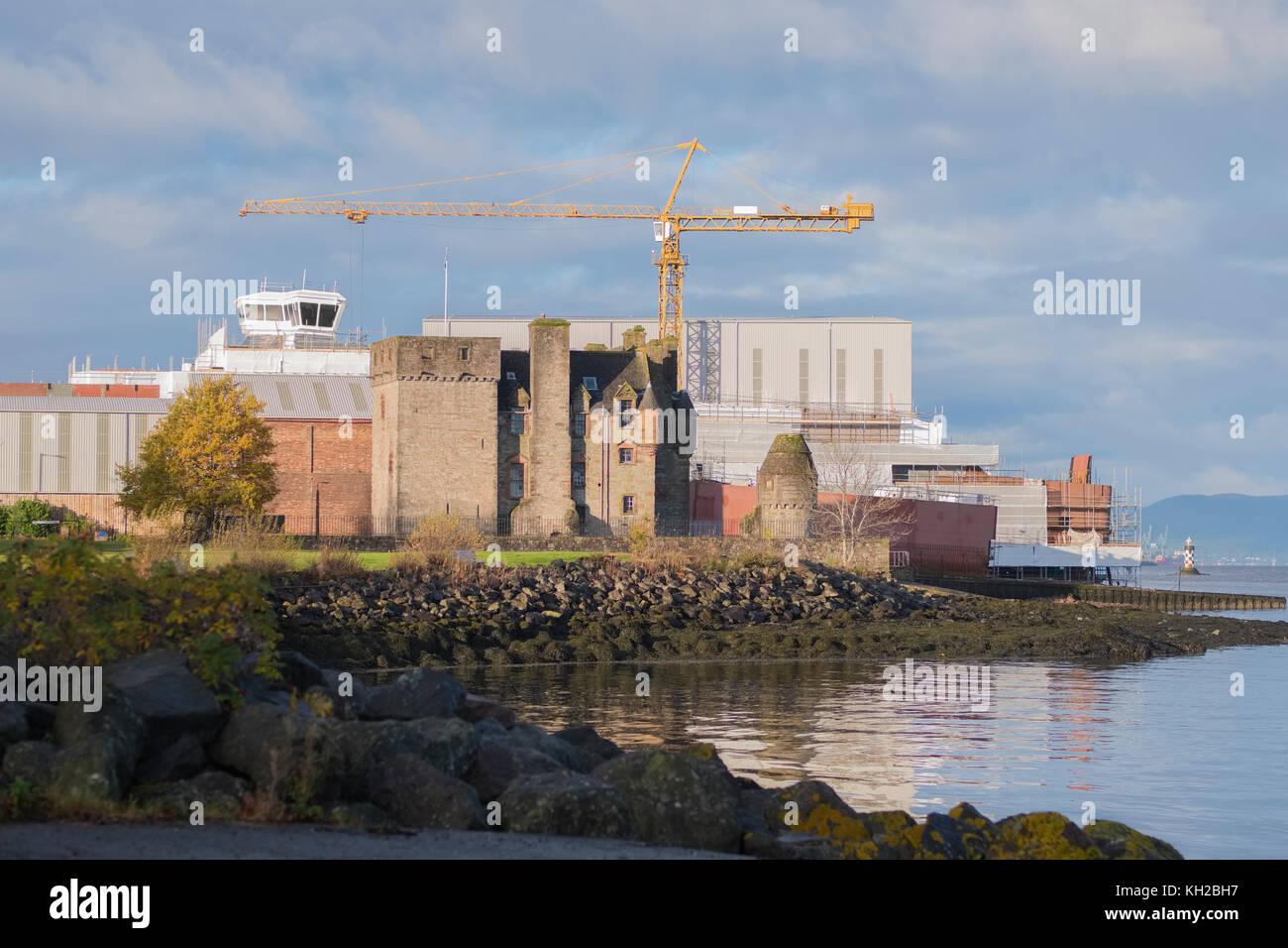 Newark Castle and Crane Shipbuilding Port Glasgow Inverclyde Scotland UK - Stock Image