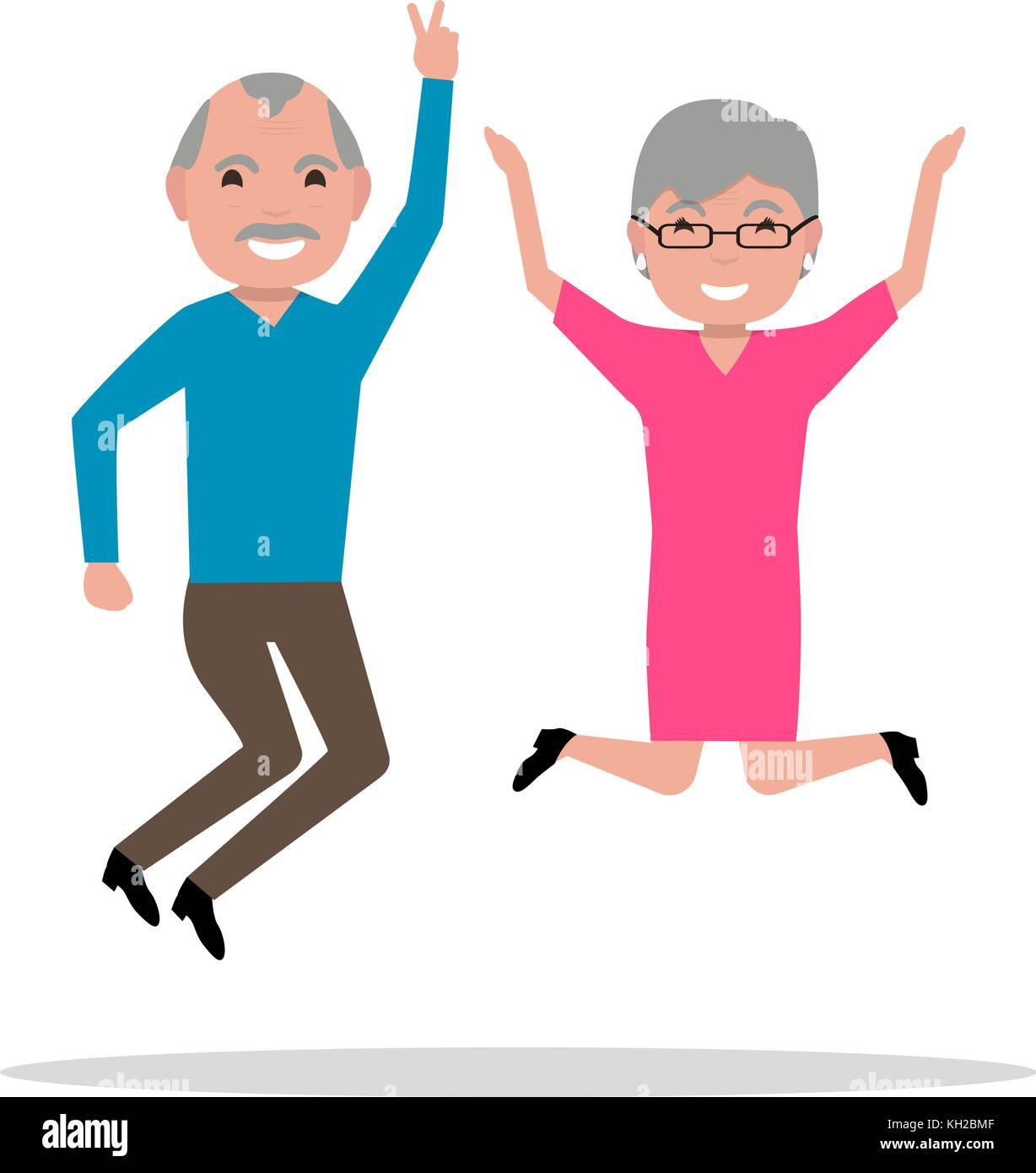 Vector cartoon jumping from happiness elderly - Stock Vector