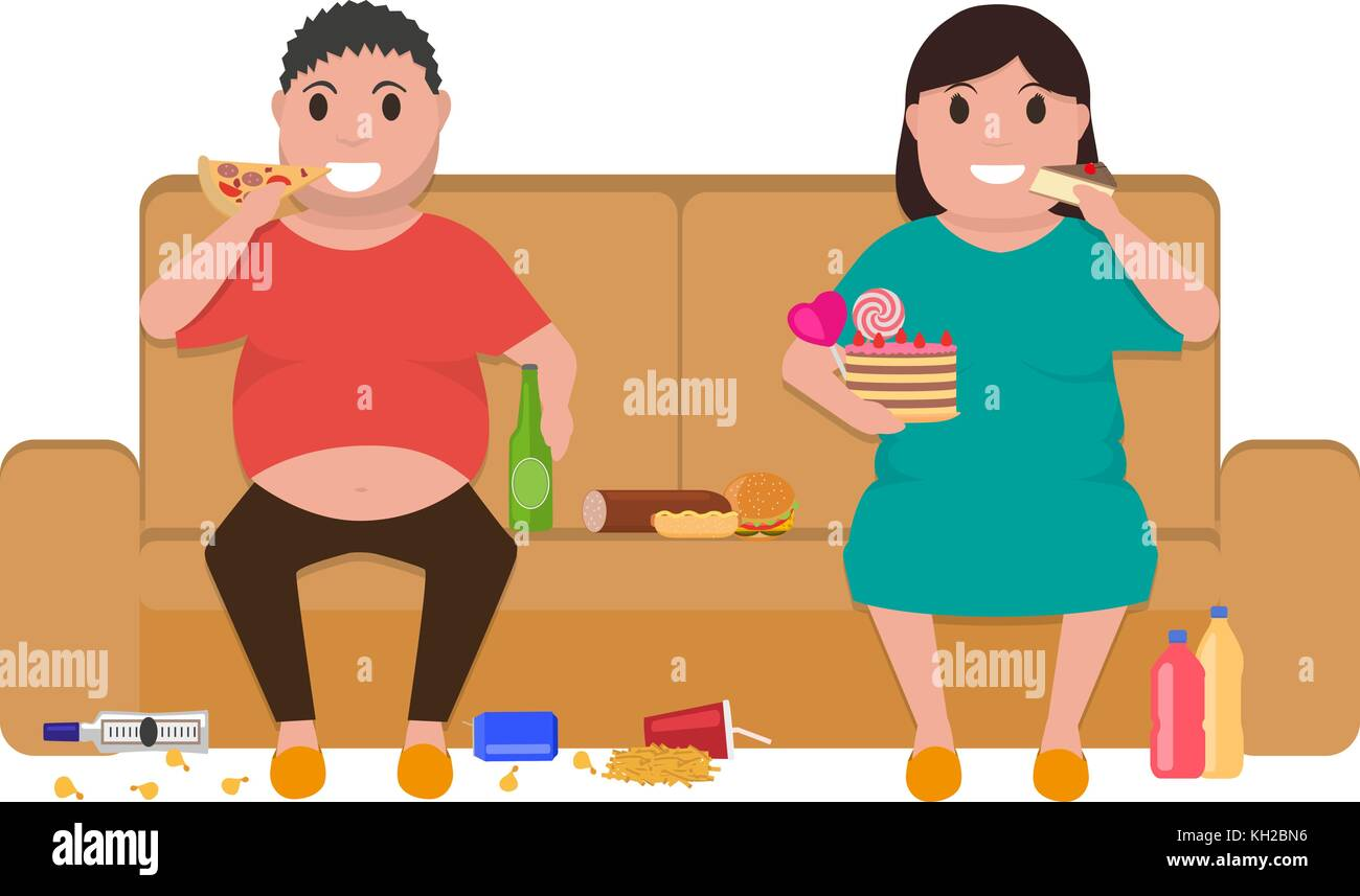 Cartoon fat man woman sitting on couch eat food - Stock Vector