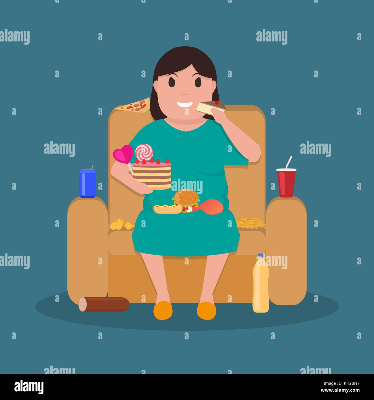 Cartoon fat woman sitting on couch eat junk food - Stock Vector