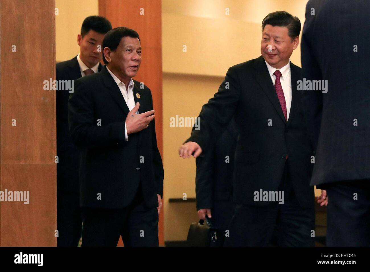 Philippines President Rodrigo Duterte, left, is escorted by Chinese President Xi Jinping prior to their bilateral - Stock Image